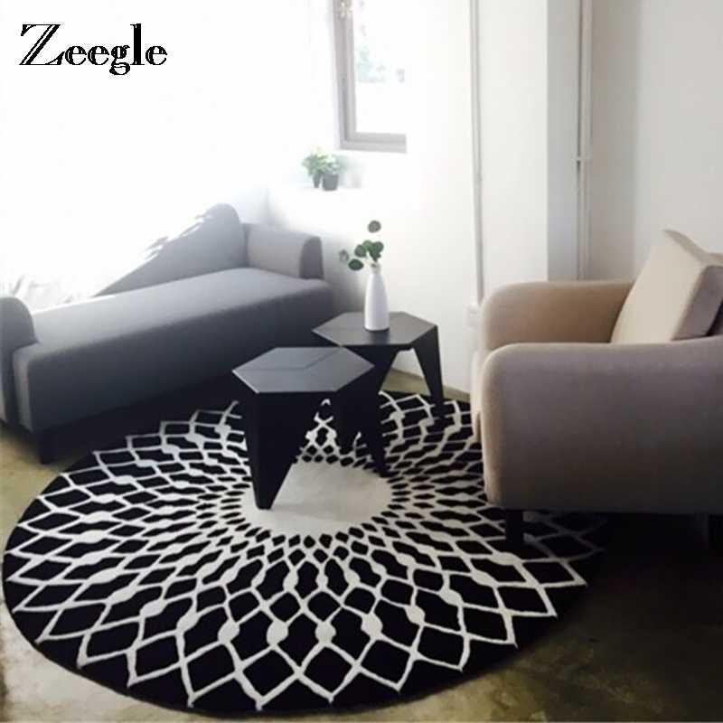Zeegle Nórdico Séries Cinza Rodada Tapetes Para Sala de estar As Crianças Brincam Tapete Cadeira Do Computador Tapete de Área Tapetes de Vestiário