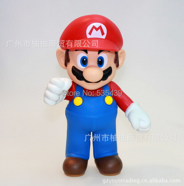 NEW HOT 23cm Cute Super Mario Bros MARIO Luigi PVC Action Figure Doll toy free shipping red green super mario plush doll toy 10pcs lot 9inch 23cm bat mary luigi cute gift for birthday chrismas cute toys