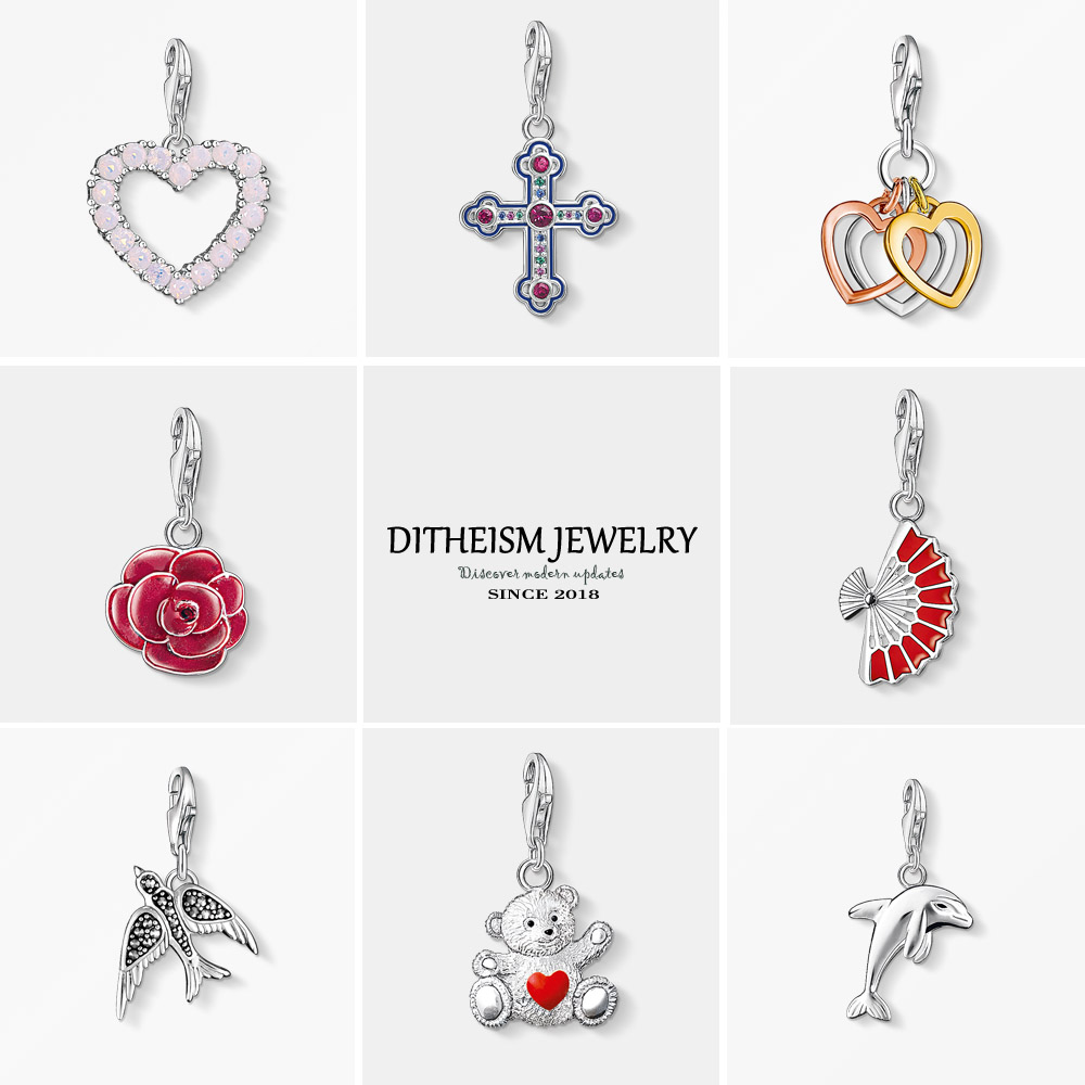 Flower Charms Jewelry Pendant Bracelet Necklace Rose Romantic 925-Sterling-Silver Girls title=