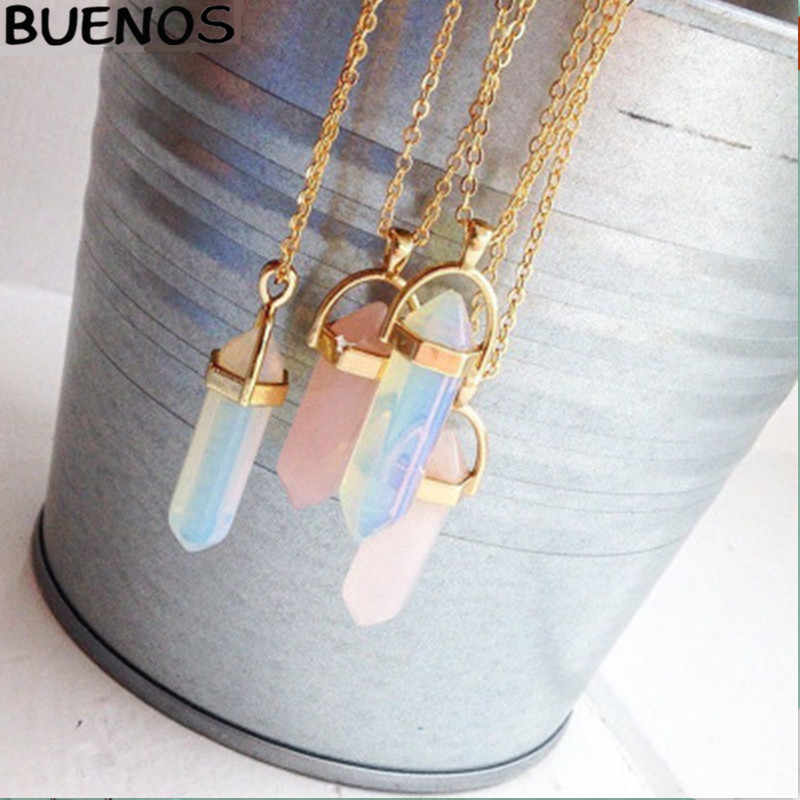 BUENOS Personality Short Bullet Pendant Natural Crystal Hanging clavicle Necklace For Woman High Grace Fashionable Popular