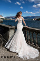 Summer Wedding Dresses 2018 Sheer Long Sleeves See Through Appliques Sweep Train Bridal Gowns with Button Covered Back
