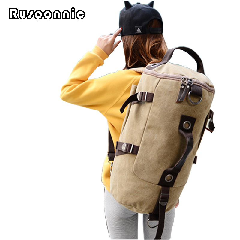 Rusoonnic Backpack Large Capacity Canvas Travel Bag Mountaineering Backpacks Mochila Feminina Bagpack Bags For Women 2018 fashion new women students lovely canvas backpack college small cartoon print sathel multifunction travel bags mochila feminina