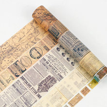 8m Length Washi Tape Vintage Map Ticket DIY Decorative Scrapbooking Masking Adhesive Set Label Sticker