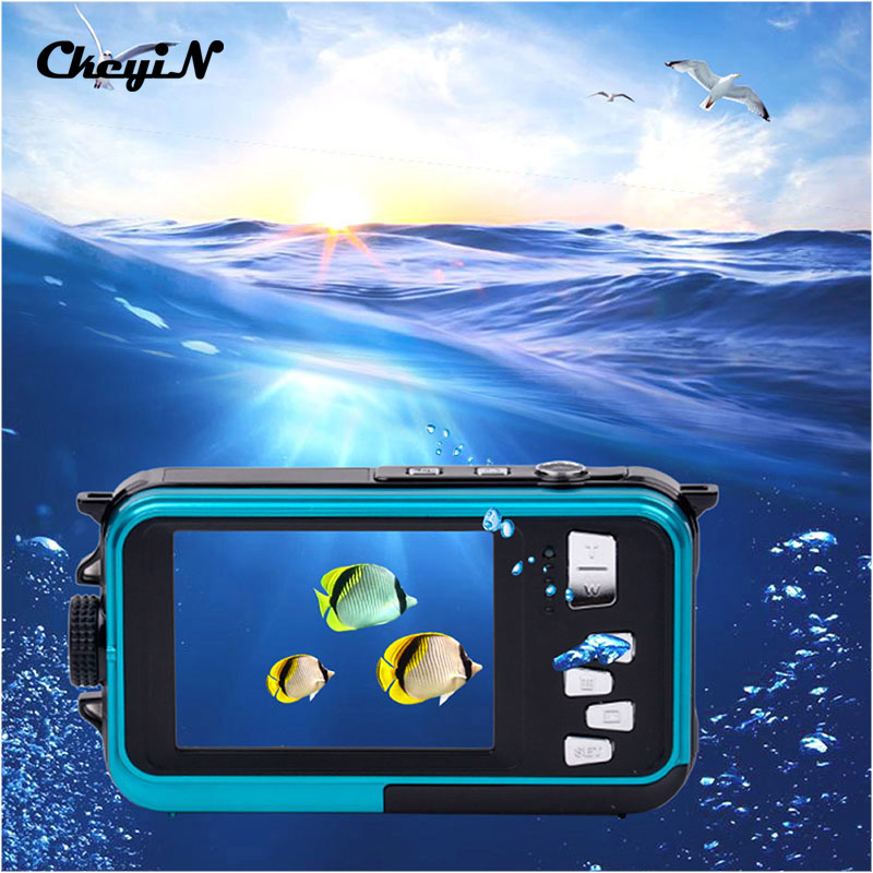 ФОТО 24MP Double Screens Waterproof Digital Camera,2.7 inch +1.8 inch Screens HD 1080P CMOS 16x Zoom Camcorder Mini Camera DVR50_2930