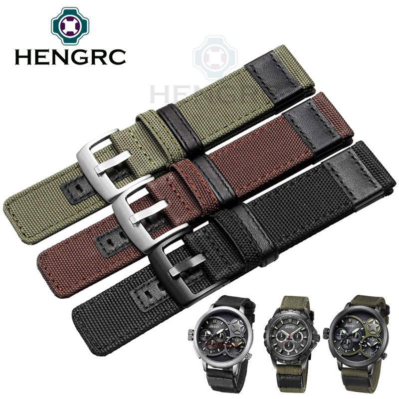 HENGRC Nylon Watch Strap Band Men Sport Nato 20 22 24mm Black Green Coffee Watchbands Stainless Steel Buckle Clasp Accessories цена
