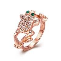 HERMOSA Fashion Women Jewelry Rose Gold Frog Design Ring Size 8 LKN18KRGPR013 Wholesale Modern Lady Wedding