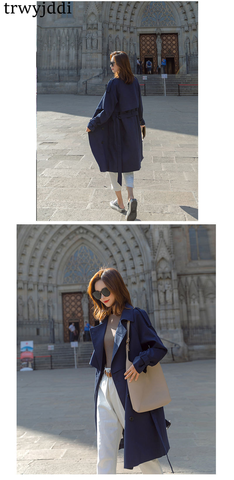 Fashion Windbreaker Coats Long section 19 New Spring Autumn Coat Women Trench Coats Korean Loose Casual Ladies Outerwear N402 13