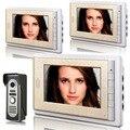 Главная Квартира 7 дюймов TFT Видео-Телефон Двери Домофон 3 Мониторы + Открытый Дверной звонок Камера с ночного видения