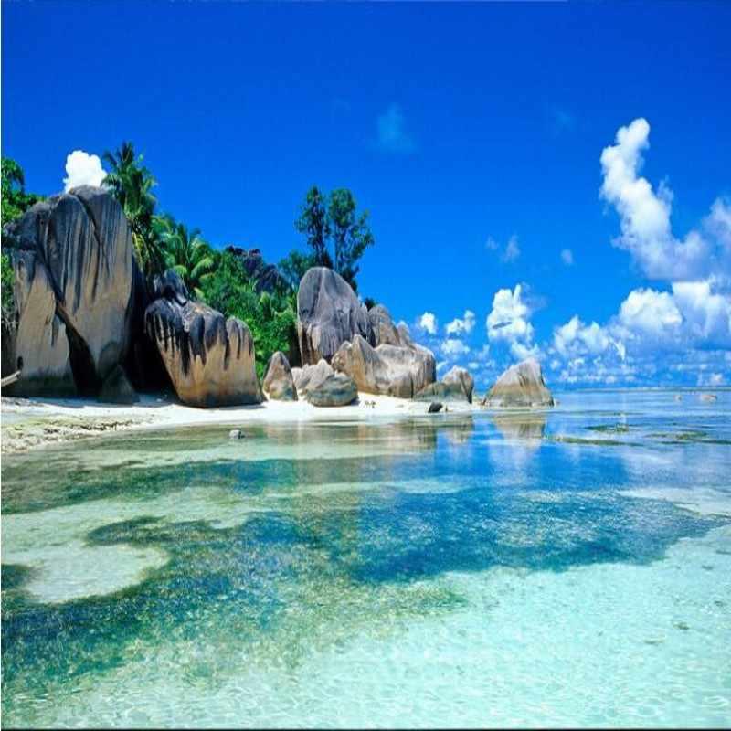 Wellyu Custom Large Fresco 3d Hd Sea View Rock Beach Landscape