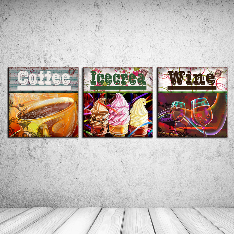 3PCS Delicious food Icecream coffee wine Wall Vintage Oil Painting Prints on Canvas Landscape Pictures Home Decor Cuadros