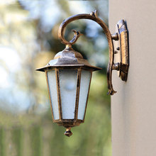 Outdoor wall lamp villa lamp fashion garden light balcony corridor gateway yard hexagonal frosted glass wall sconce WCS-OWL0010 tiffany glass butterfly club corridor wall light alloy bronze arms bedroom bedsides stair case wall sconce villa balcony lamps