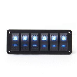 Image 2 - 6 Gang Rocker Switch Panel met Blauwe LED Licht Circuit Breaker voor Marine/auto Waterdichte IP67 Zwart duurzaam effen aluminium paneel