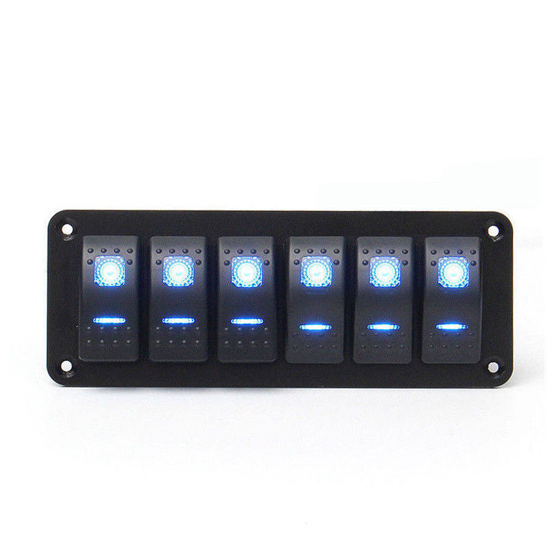 6 Gang Rocker Switch Panel with Blue LED Light Circuit Breaker for Marine/car Waterproof IP67 Black durable solid aluminum panel diy rocker switch for car vehicle black red 11cm