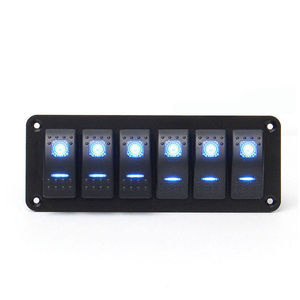 Image 2 - 6 Gang Rocker Switch Panel with Blue LED Light Circuit Breaker for Marine/car Waterproof IP67 Black durable solid aluminum panel