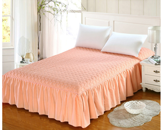 Thicker Mattress Cover Bedspreads Cotton Thick Add Quilted Bed Skirt Non Slip Elastic