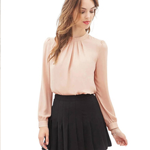 New Arrival Spring 2016 Women Fashion Stand Collar Chiffon Blouse Long Sleeve Shirts Casual Cut e Shirt Tops Black Pink 800032