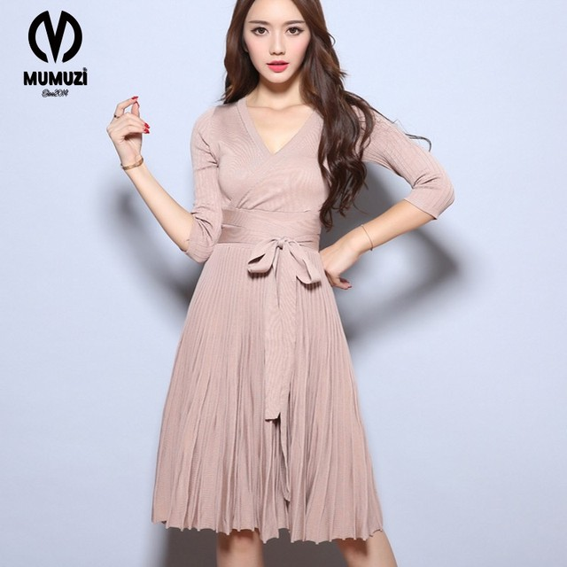 2017 Woman Heather Grey Wrap Dress With Pockets Autumn Ladies Deep V Neck  Long Sleeve Vintage Belted A Line Dress 8d8b1ea37