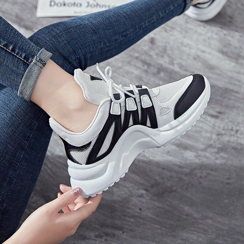 Plataforma Ulzzang Gruesa Coreana De Zapatos Air Negro Suela Femenina Estudiantes Gilrs 2018 Mujer Mesh Oscuro Tamaño azul Para Sneakers Nuevos gris amarillo rosado Gran Casuales PznEa5w7x