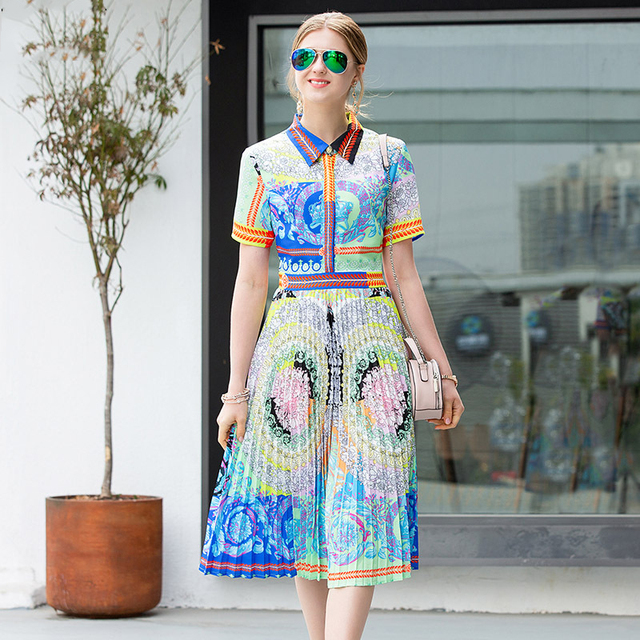 2019 Spring Pretty Print Pleated Dress High Quality Fashion Short Sleeve Turn-down Collar Knee Length Slim Dress
