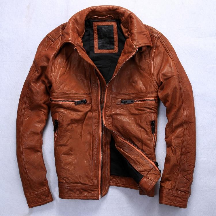 Popular Men&amp39s Brown Leather Motorcycle Jacket-Buy Cheap Men&amp