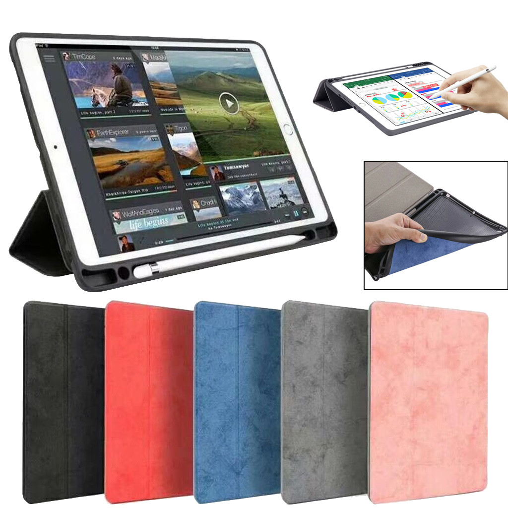 ipad 9.7 case leather 2018 For iPad 9.7 2017 2018 Release Smart Leather TPU Stand Cover With Pencil Holder TPU leather z7