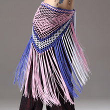 2016 Promotion Contrast Color Belly Dance Training Clothes Accessories Stretchy Long Tassel Triangle Belt Hand Crochet Hip Scarf