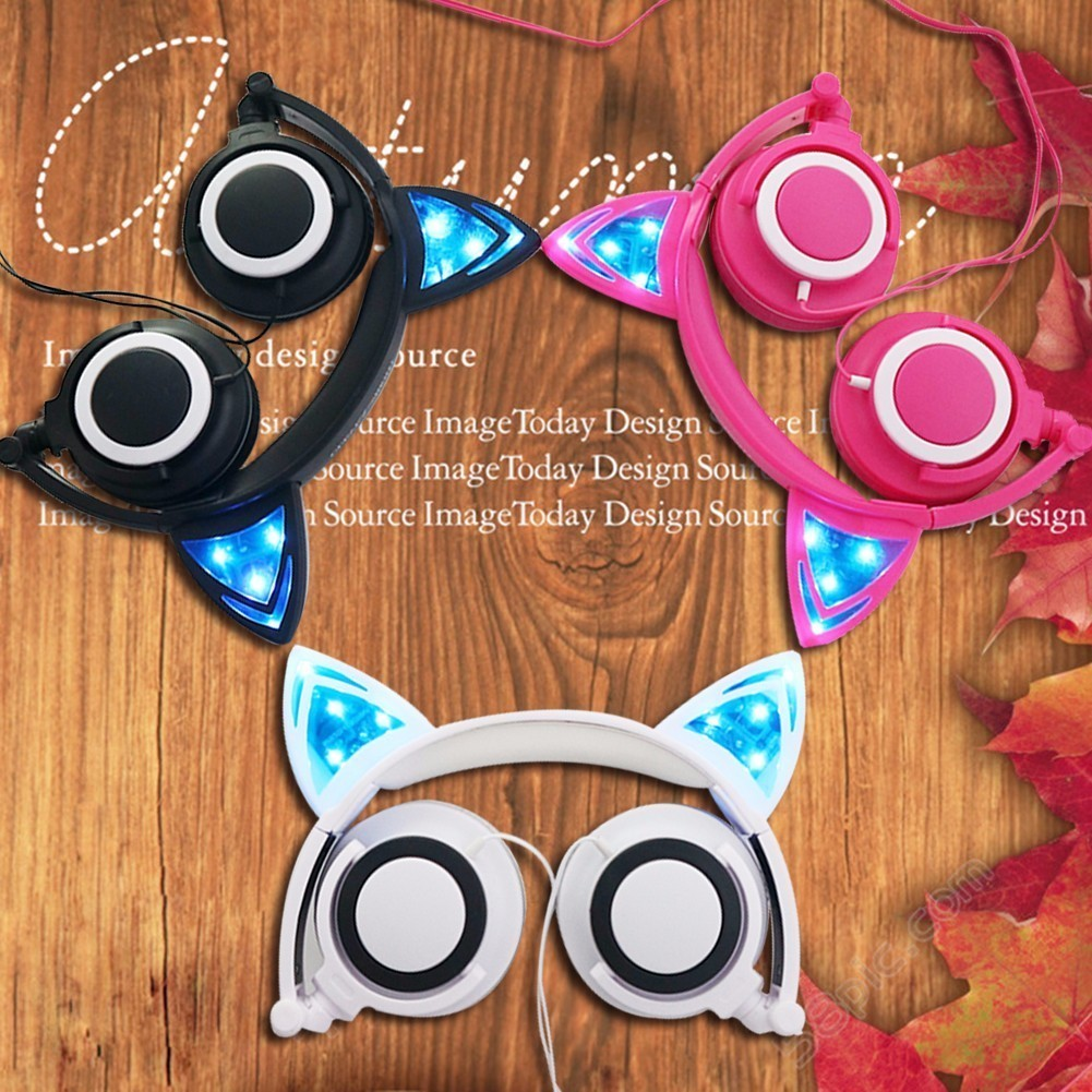 CLEVER BRIGHT Ear Headphones Cute Flashing Glowing Gaming Headset Earphone With LED Light For Kid Child Free Shipping cute n clever набор папа помогай ка