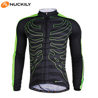 NUCKILY Fleece Long Sleeve Windproof Breathable Mountain Bike Bicycle Bicicleta Outdoor Sportswear Clothes Jacket Cycling Jersey