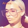 Aimade Unique Flat Big One Piece Lens Rimless Sunglasses Women Fashion Brand Designer Mirror Metal Ladies Oversize Sun Glasses