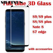 Sibeixun полностью наклеиваемая поверхность накладка закаленное Стекло для samsung Galaxy S9 S9 плюс S8 S8 plus Note 8 S7 край 3D телефон Экран пленка