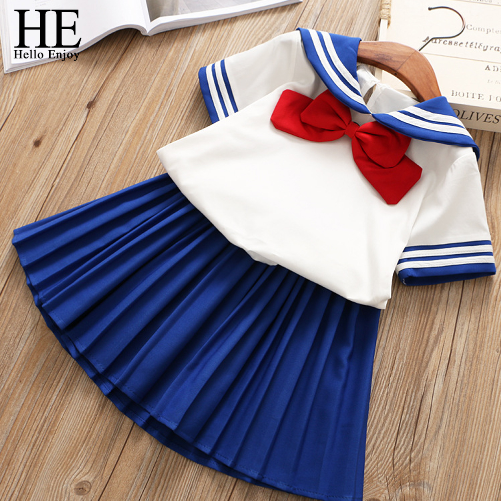 HE Hello Enjoy Baby Girl Boutique Set Preppy Style Sailor Moon Bow Tops+Blue Pleated Skirt Suit Kids Girls Clothes Children 2-6Y