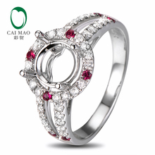 Anniverary 18K White gold Natural 0.48ct Diamond 0.14ct Ruby Engagement Ring Jewelry Semi Mount 7.5mm Round Cut Setting