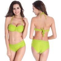 Kobiecy swimmart zgniecenie removable neck halter kobiety stroje kąpielowe push up top pełni pokryte fantazyjne kobiet ostatnie projekt bikini