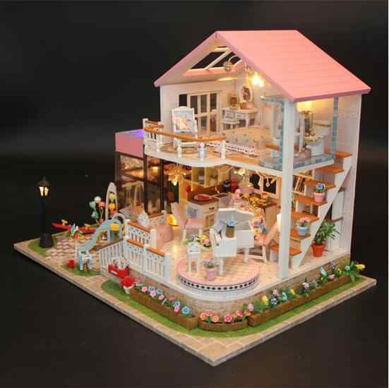 Big size house Miniature Diy Puzzle Villa Toy Doll House Model Wooden Furniture Building Blocks Toys Birthday Gifts