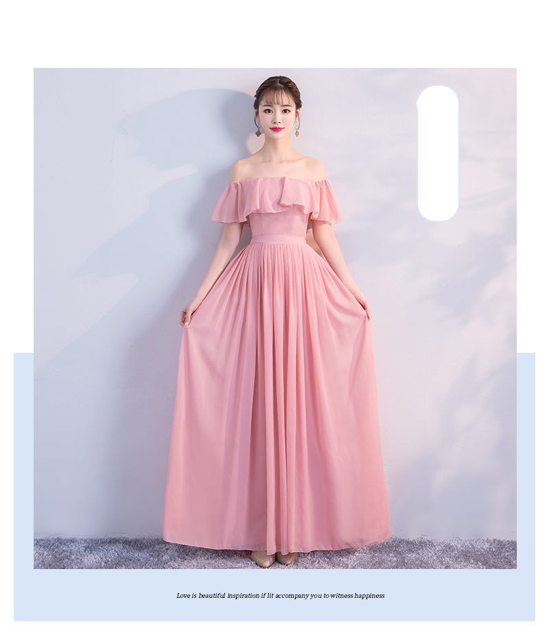 Pink Colour New Style Chiffon Bridesmaid Dress  Simple Generous Sister Dress For Wedding Party Show Back Of Zipper Vestido Sexy