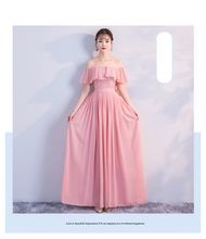 Pink Colour New Style Chiffon Bridesmaid Dress  Simple Generous Sister Dress for Wedding Party Show Back of Zipper