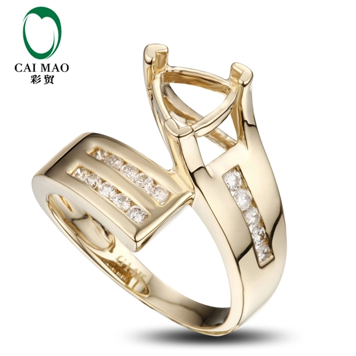 CaiMao Trillion cut Semi Mount Ring Settings & 0.3ct Diamond 14k Yellow Gold Gemstone Engagement Ring Fine Jewelry