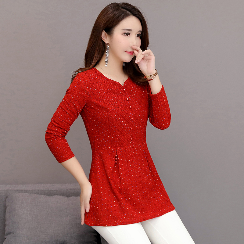 Plus Size New Spring Women Shirts Full Sleeve Mom Waist A Word Set Blouse