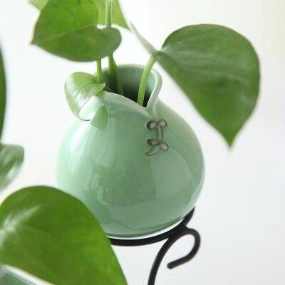 Celadon creative simple hydroponic vase ceramic vase glass vase iron frame vase green water water desktop
