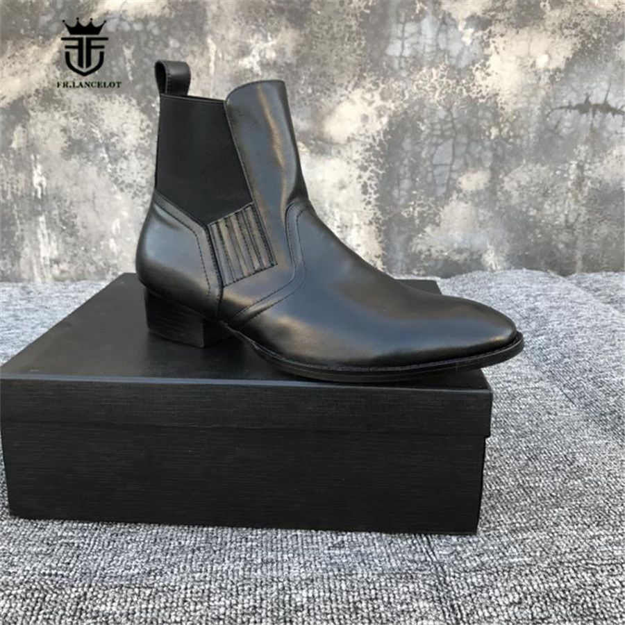 New Designer Model Wedge Elastic Band genuine leather Personalized Men Pointed Toe Boots Dress Wedding Business Causal Men Boots