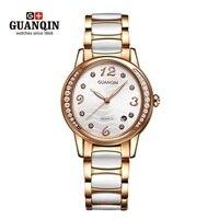 Элитный бренд Керамика женские часы GUANQIN Для женщин часы Diamond световой Кварцевые часы Водонепроницаемый Сталь Наручные Часы Montre Femme