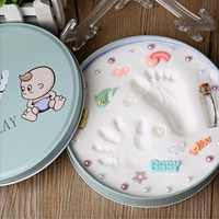 Infant Baby Andenken Pflege Luft Trocknen Modellierung Farbige Ton Handabdruck Fußabdruck Impressum Kit Casting kind Hand Inkpad Fingerprint