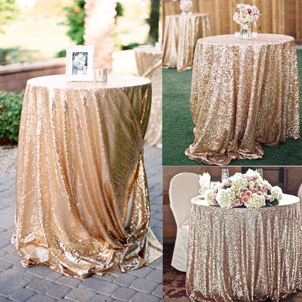 Glitter Sequin Tablecloth Rectangular Round  Rose Gold Silver Table Cloth Rose Gold for Wedding Party Christmas Decoration Стёганое полотно