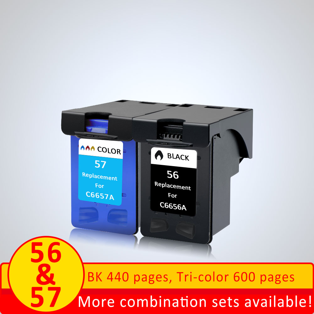 XiangYu Black 56 or Color 57 XL Ink Cartridge Replacement for HP 56 57 for HP56 for HP57 Deskjet 2100 220 450 5510 5550 5552