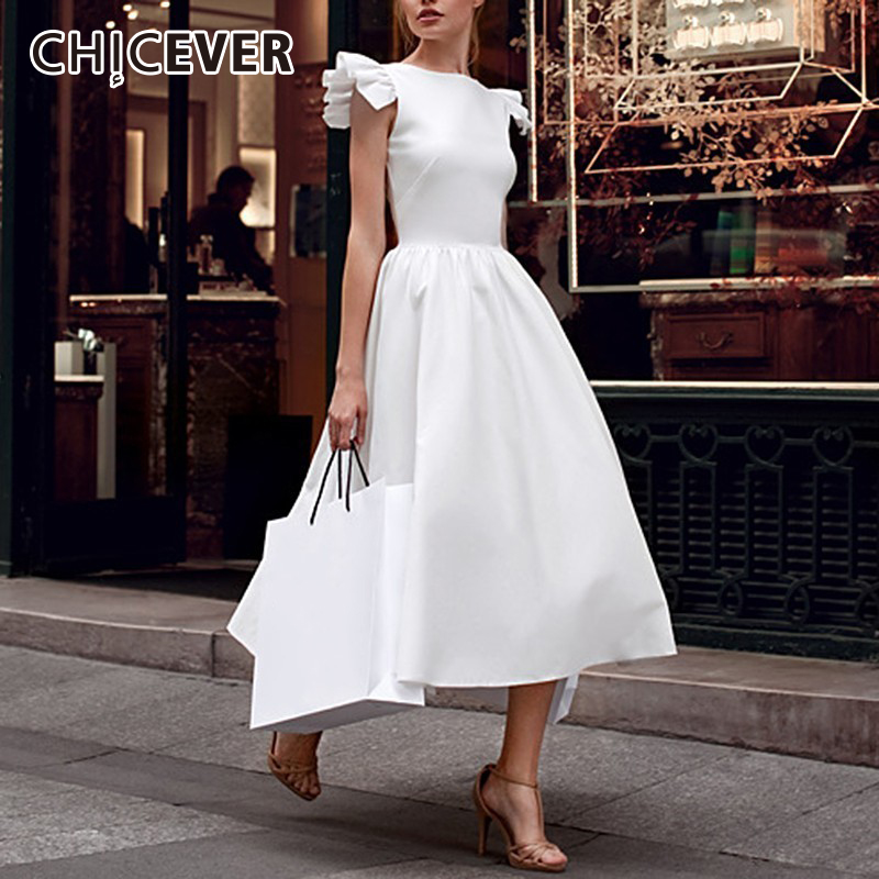 CHICEVER Vintage Dress For Women Sleeveless Patchwork Ruffles High Waist Plus Size Ladies Party Dresses Female 2020 New