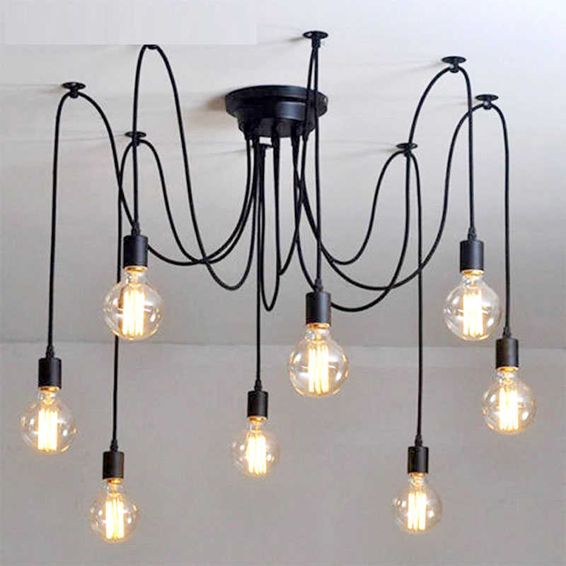 Vintage Chandelier Black Loft Spider hanglamp lustre DIY E27 Adjustable Living room Lighting Kitchen Ceiling Chandelier Fixture