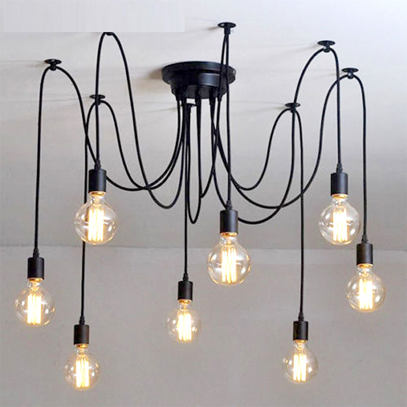 Us 7 06 55 Off Vintage Black Spider Chandelier Modern Diy Cord Hanglamp E27 Adjule Living Room Lighting Kitchen Light Fixture Nordic Lamp In