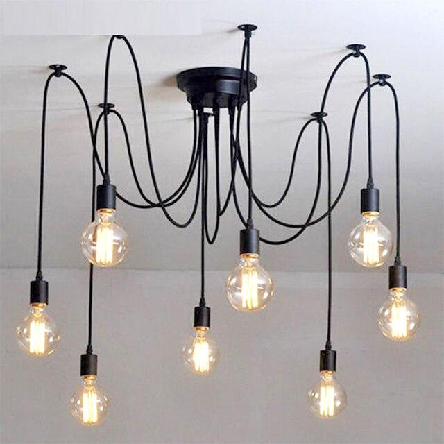 Vintage Chandelier Black Loft Spider Lustre DIY E27 Adjustable Living room Lighting For Kitchen Ceiling Chandelier Fixture Lamp