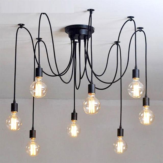 Uberlegen Vintage Kronleuchter Loft Spinne Glanz DIY E27 Einstellbar Wohnzimmer  Beleuchtung Für Küche Decke Kronleuchter Leuchte Lampe