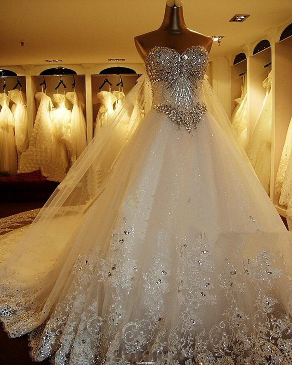 aliexpress wedding dresses Aliexpress com Buy Real White Lace Up Back Ball Gown Fashionable Crystal Wedding Dress Free Shipping